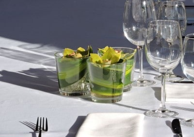 Glass of Orchids centerpiece