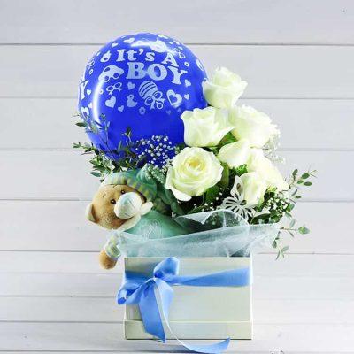 δωρο λουλουδια για νεογέννητο αγοράκι μπλέ