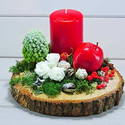 χριστουγενιάτικη σύνθεση με forever roses