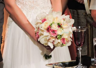 light pink and white bridal bouquet