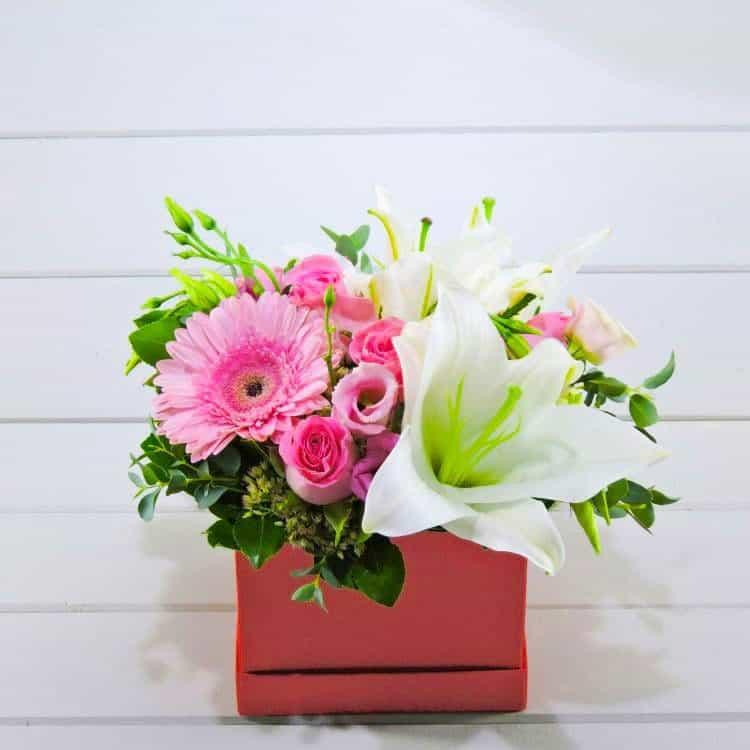 λουλούδια σε κόκκινο κουτι τριανταφυλλα χρώμα χαρα