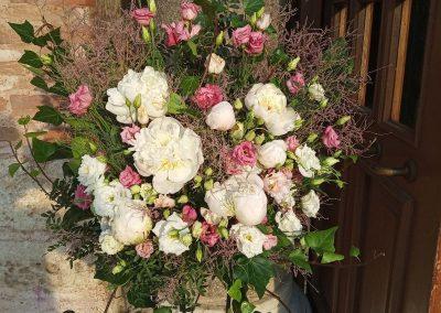 Vintage flower arrangement church entrance
