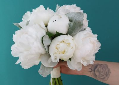 White paeonies bridal bouquet