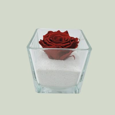 Glass cube(forever rose)